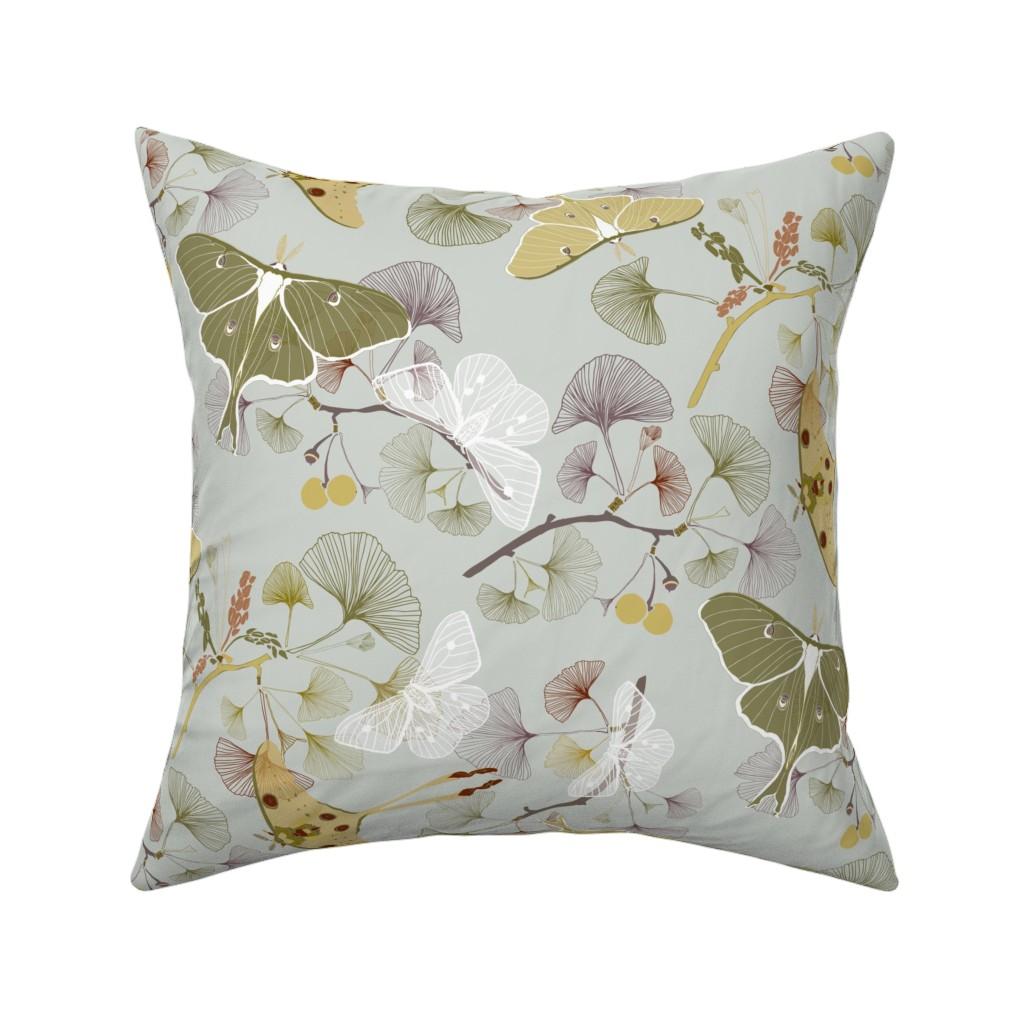 Catalan Throw Pillow featuring Luna Moth by jaanahalme