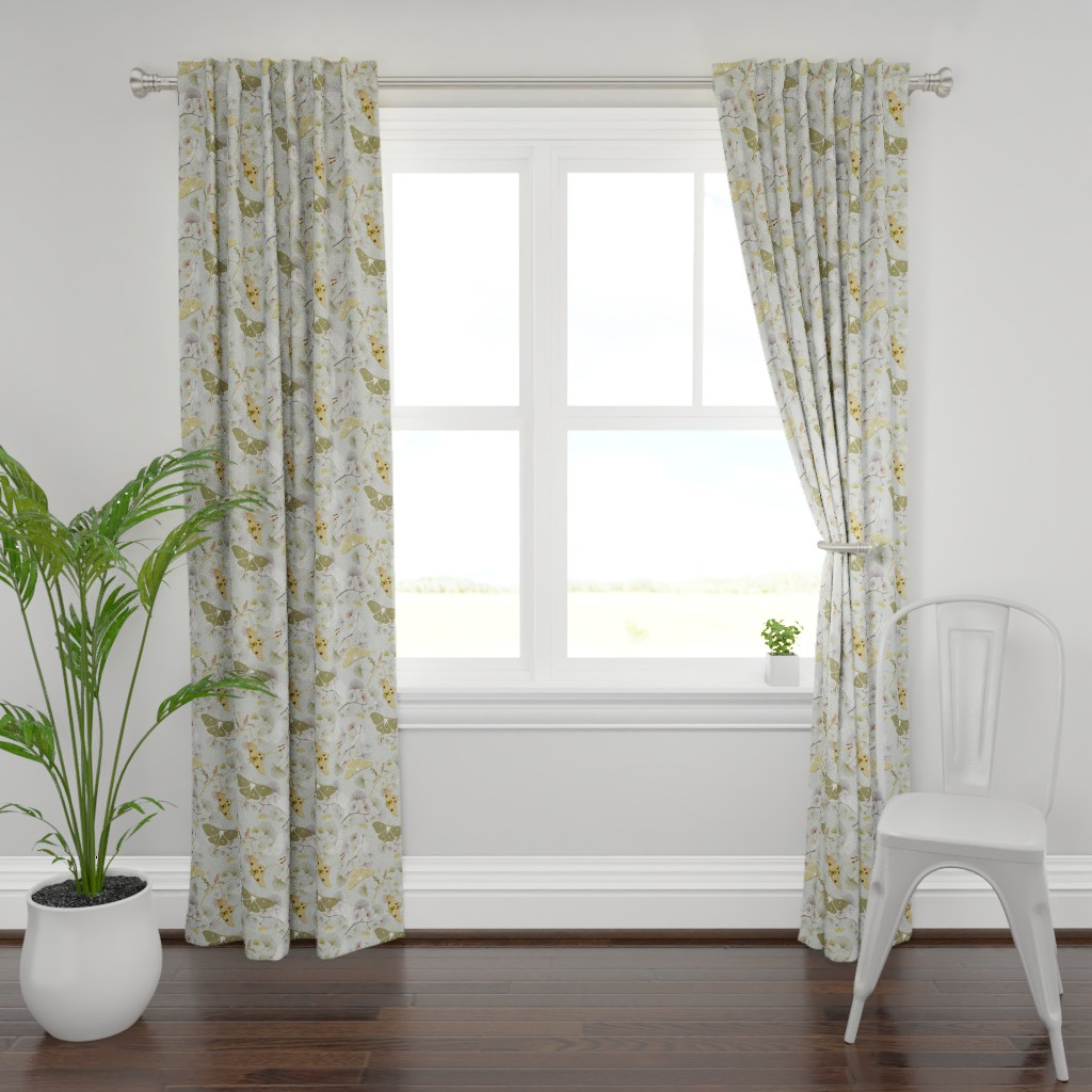 Plymouth Curtain Panel featuring Luna Moth by jaanahalme