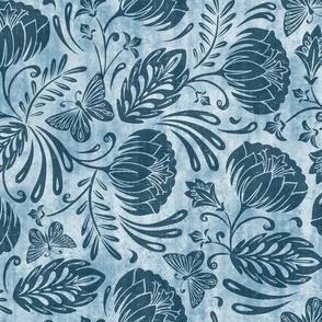 Arabella - Damask Washed Indigo Blue