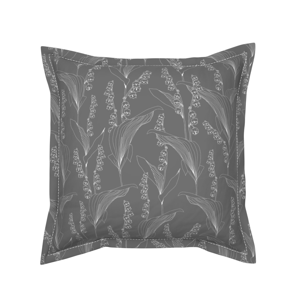 Serama Throw Pillow featuring Lily of the Valley Gray by jaanahalme