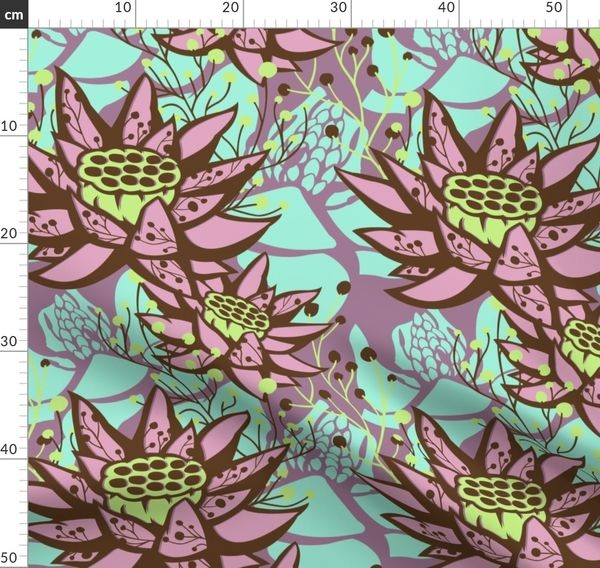 Fabric By The Yard Large Scale Mauve Lotus Floral Botanical