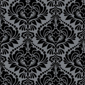 Silver and Black Damask