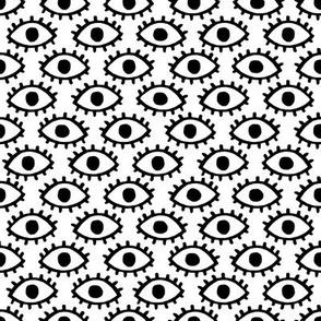 Black eyes on white