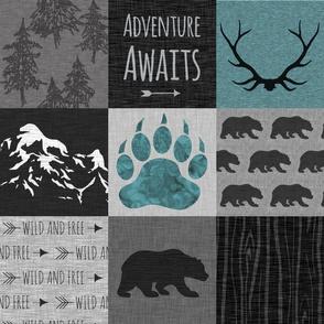 Adventure Bears - teal, grey and black