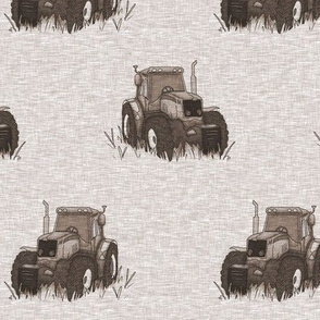 """3.5"""" Old Tractors - Soft brown"""
