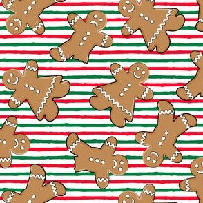 gingerbread man toss on red and green stripes