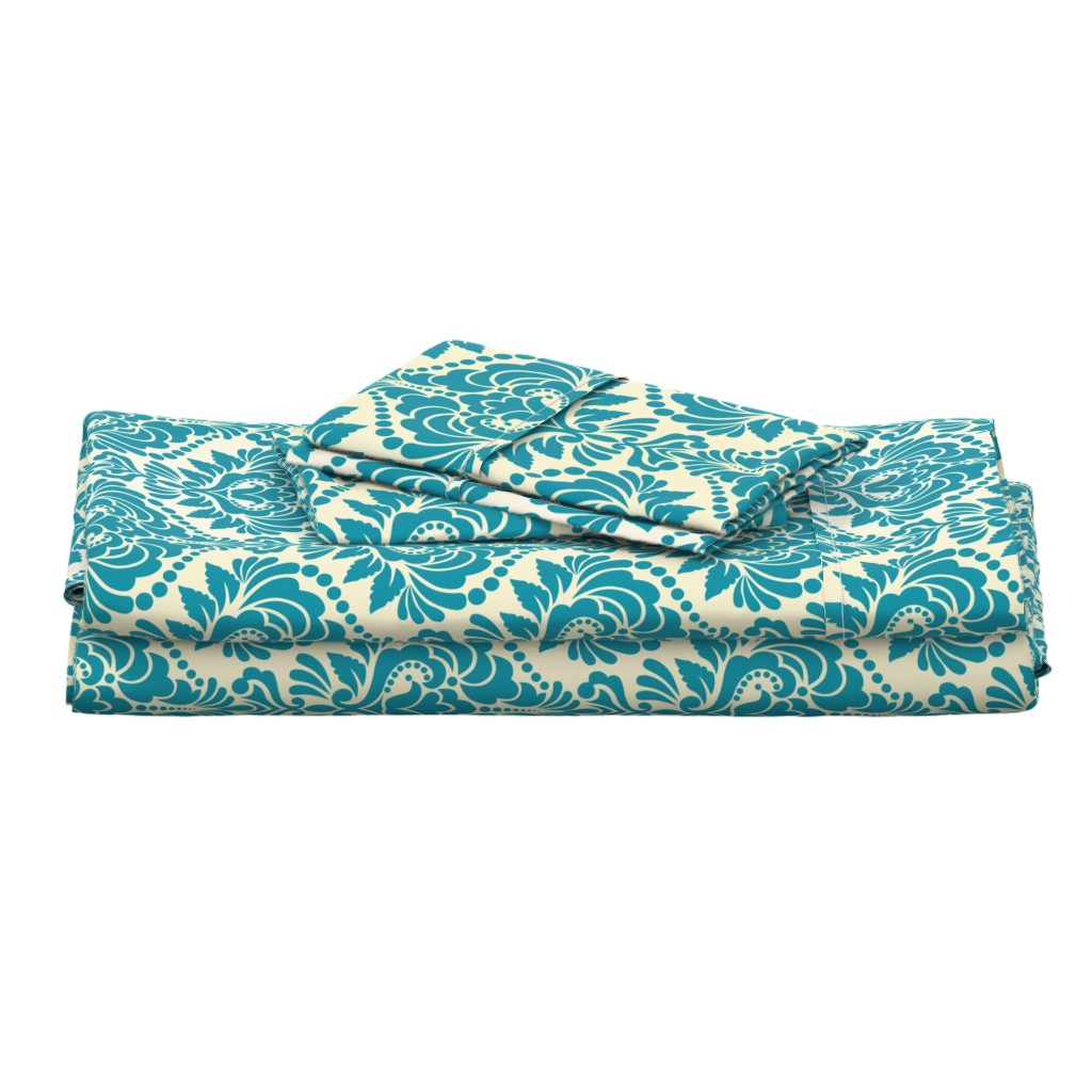 Langshan Full Bed Set featuring Teal and Ecru Damask Large by artsytoocreations
