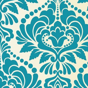 Teal and Ecru Damask Large