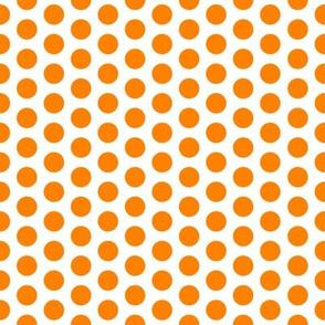 Medium Orange Dot on White FS Carrot Polka Dot