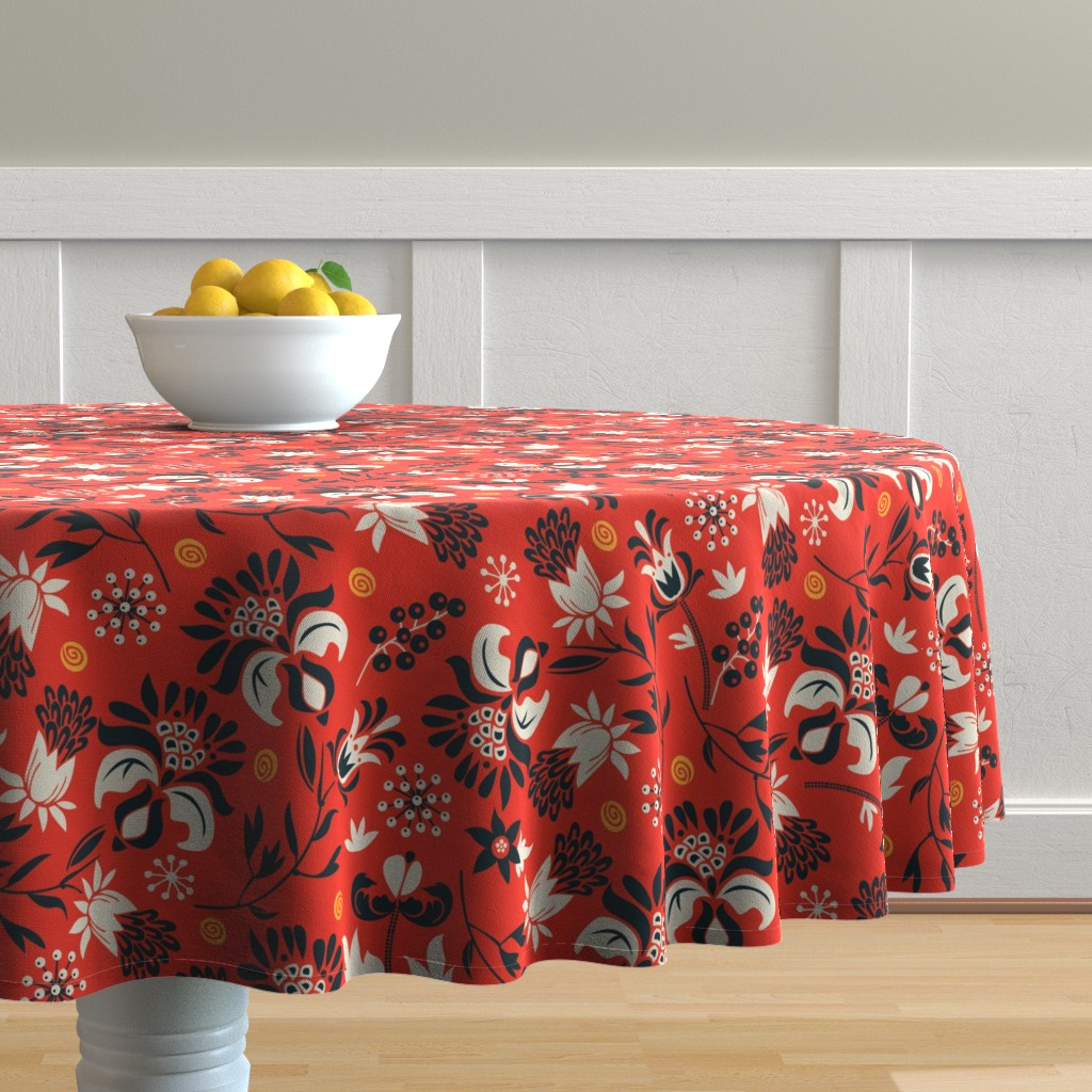 Malay Round Tablecloth featuring victorian floral | red by camcreative