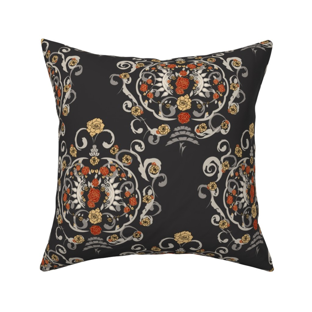 Catalan Throw Pillow featuring Victorian Floral Damask by stasiajahadi
