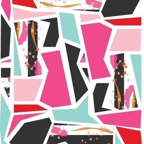 Shattered Mind Geometric - Red, Pink, Teal, Black