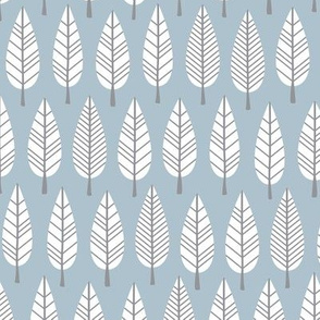 Retro trees autumn winter forest abstract leaves scandinavian botanical style gender neutral blue