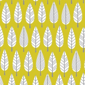 Retro trees autum forest abstract leaves scandinavian botanical style gender neutral mustard yellow