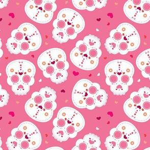 Mexican sugar cranium skulls dia de los muertos skull halloween pink girls