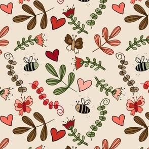 Bees & Butterflies - Ecru