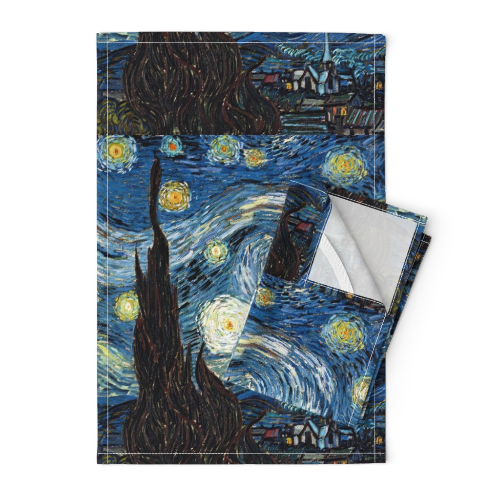 Orpington Tea Towels featuring Van Gogh - The Starry Night (1889) (20x24) by studiofibonacci
