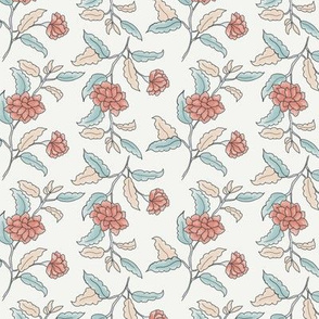Small apricot ditsy trailing floral on cream