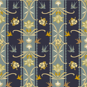 Victorian Floral Stripe - Dark Blue