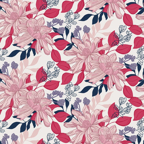 Pretty, detailed, hand drawn floral in pink and blue