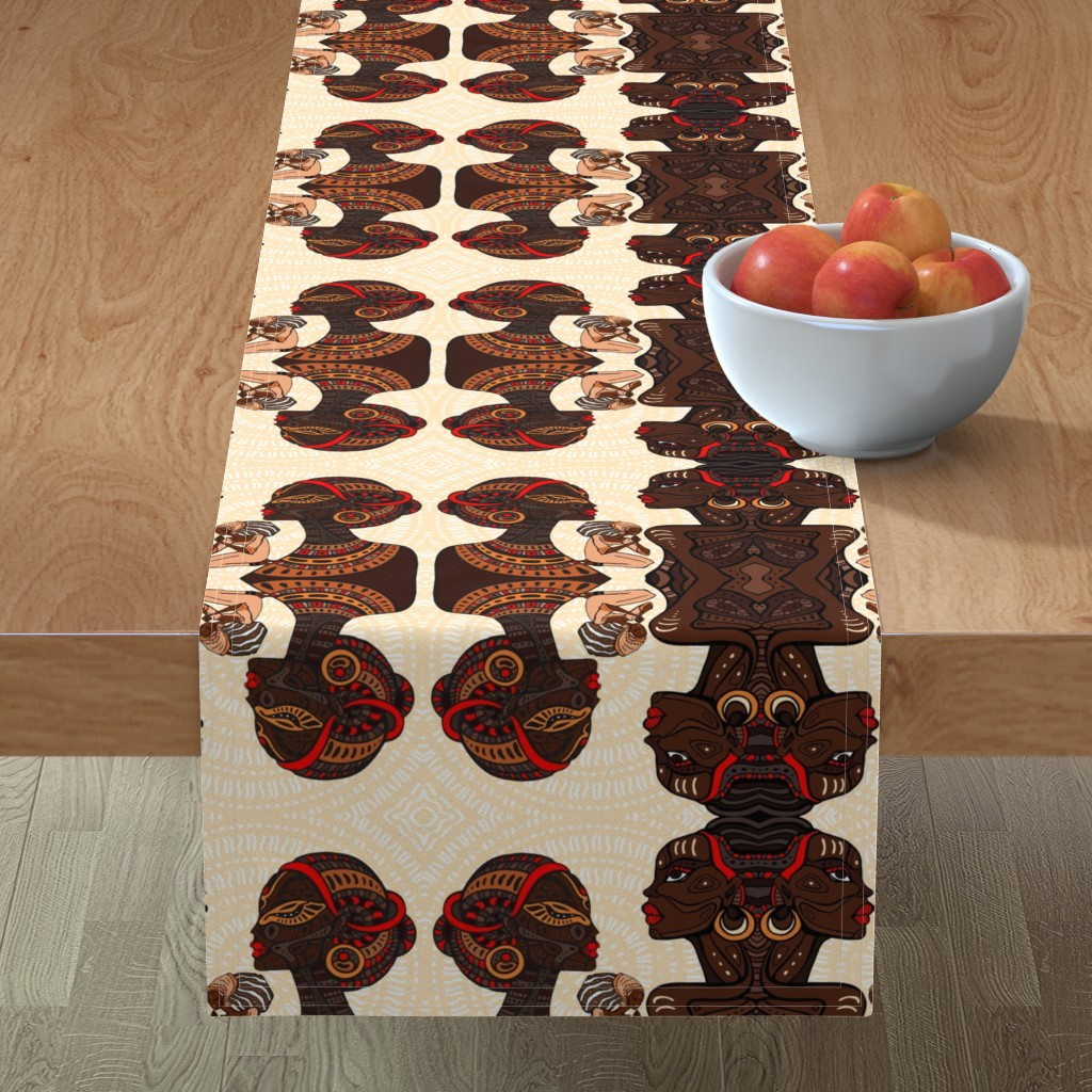 Minorca Table Runner featuring African Tribal  Women on Khaki Mandala by fabric_is_my_name