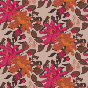 Detailed, hand drawn floral in brown, pink and orange