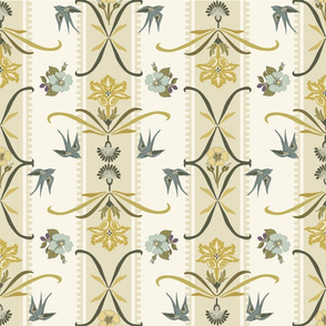 Victorian Floral Stripe  - Yellow, Blue, Cream