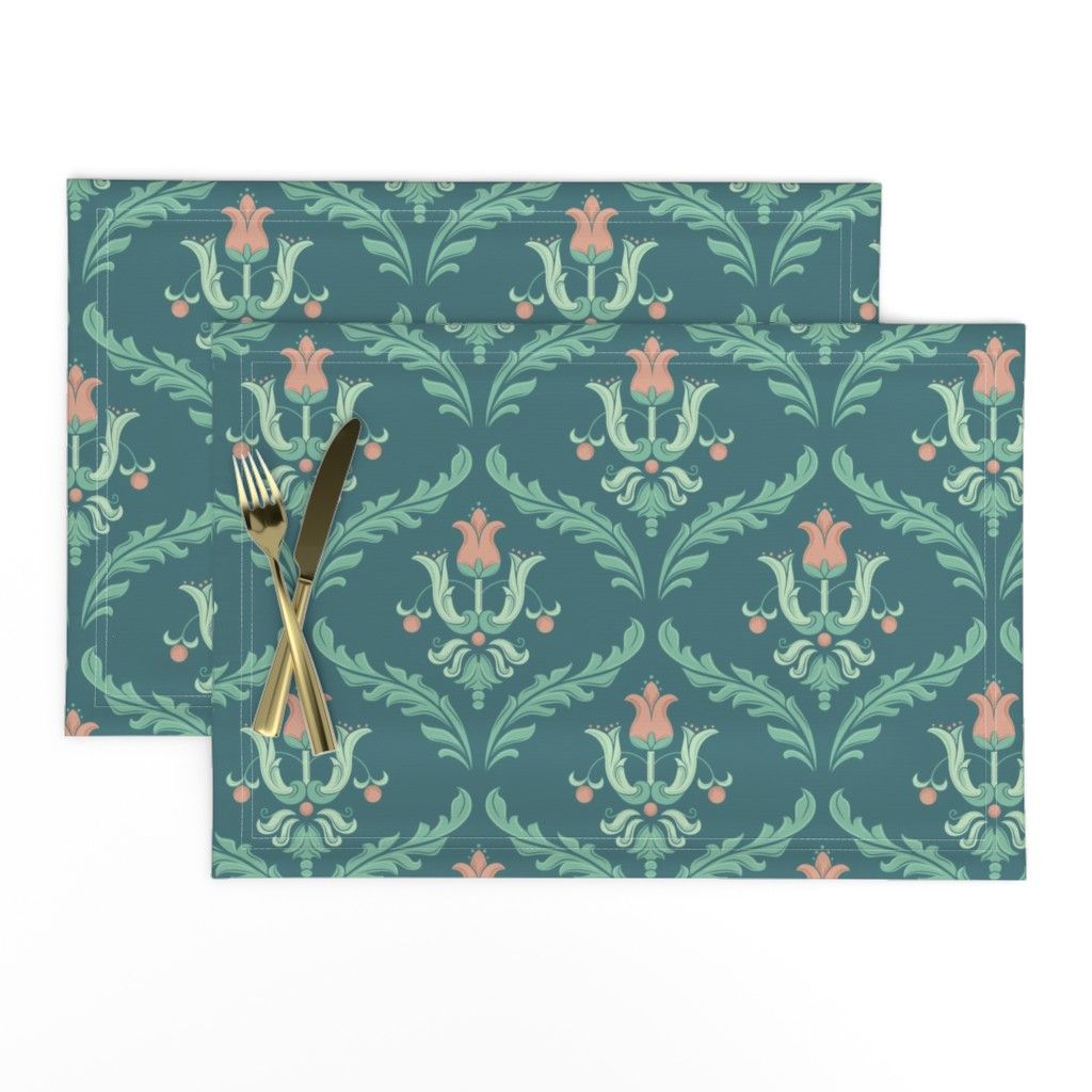 Lamona Cloth Placemats featuring Victorian blue by petras_patterns