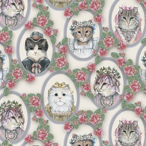 Vintage Victorian Cats with Roses