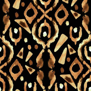 Gold Tan Brown Black  Tribal Ikat