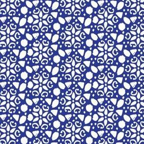 17-10B White Ikat on Royal Blue  Hanukkah Winter _ Miss Chiff Designs