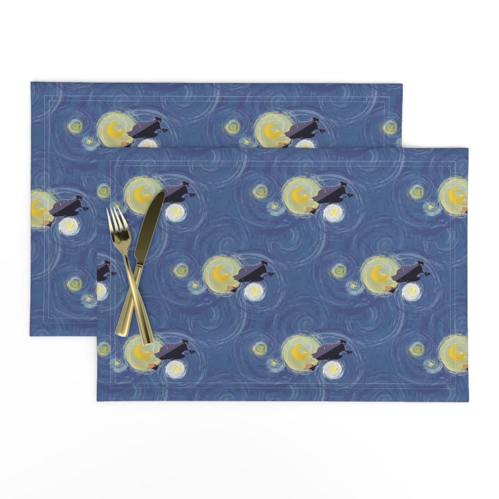 Lamona Cloth Placemats featuring Flying under a starry night by krystalsavage