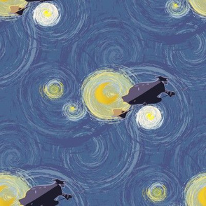 Flying under a starry night