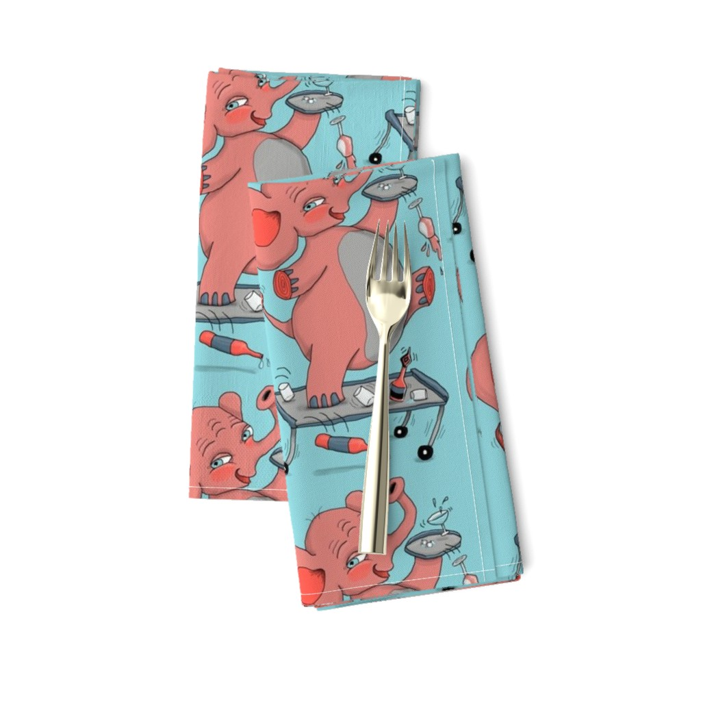 Amarela Dinner Napkins featuring i'm so drunk, i'm seeing pink elephants! large scale, pink coral blue aqua gray by amy_g
