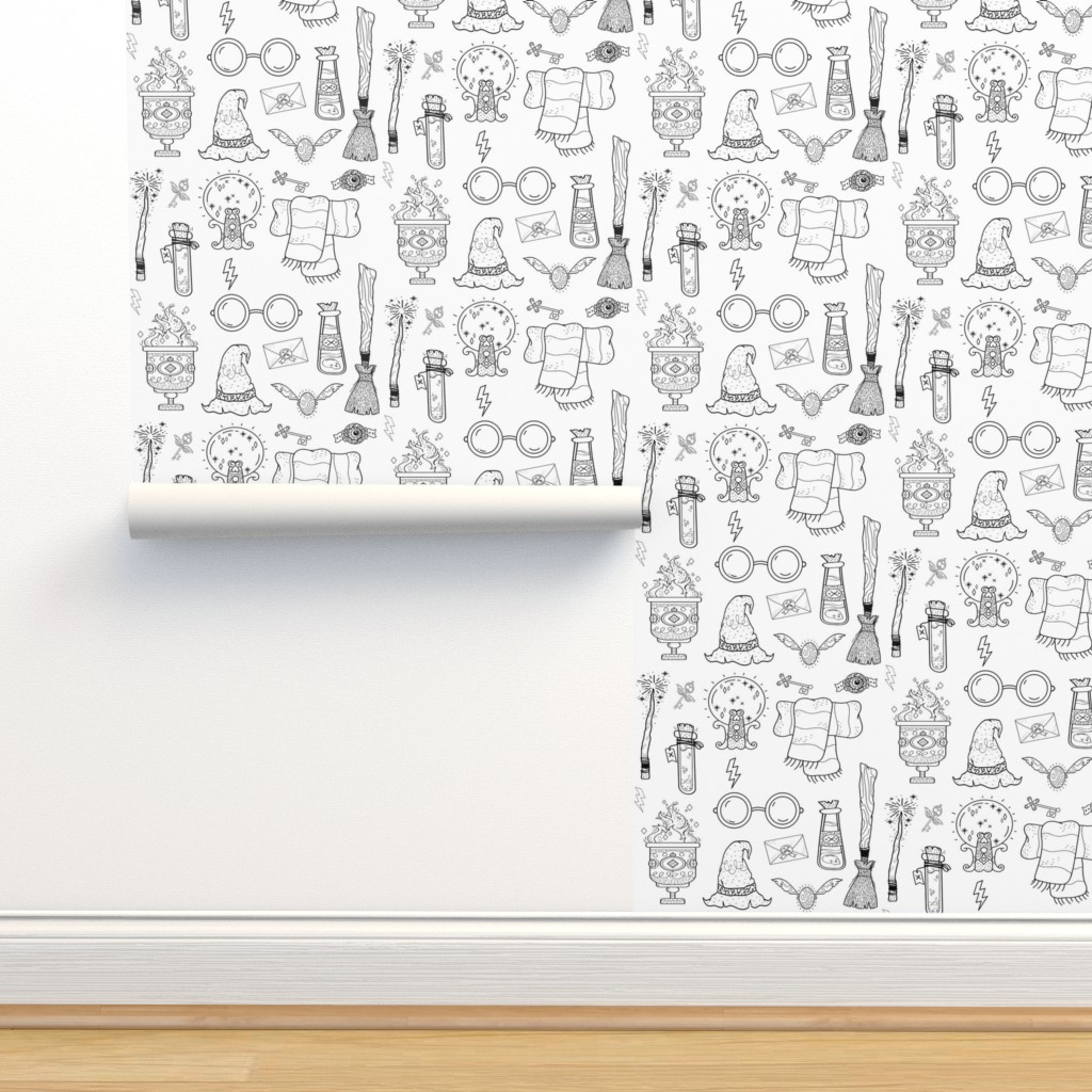 """Isobar Durable Wallpaper featuring 6"""" Wizarding School // White by hipkiddesigns"""