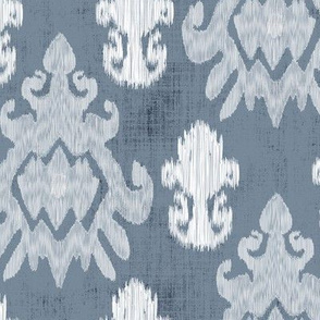 17-11D White Ikat on Blue Slate  Home Decor _ Miss Chiff Designs