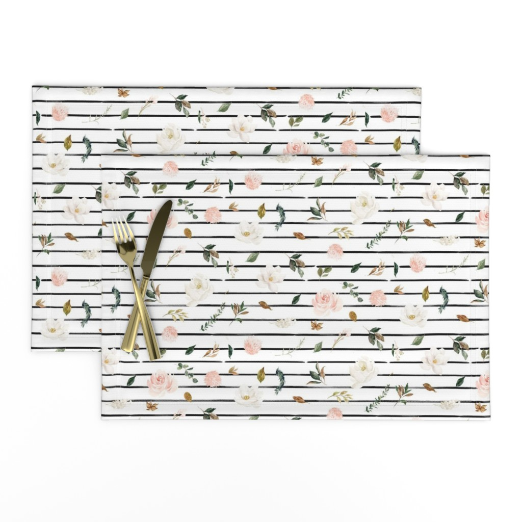 """Lamona Cloth Placemats featuring 8"""" Magnolia Floral Stems // Black and White Stripes by hipkiddesigns"""