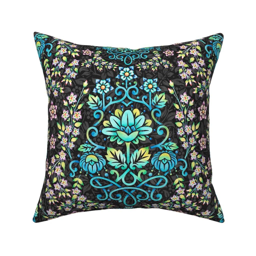 Catalan Throw Pillow featuring Nouveau Victoriana by patriciasheadesigns