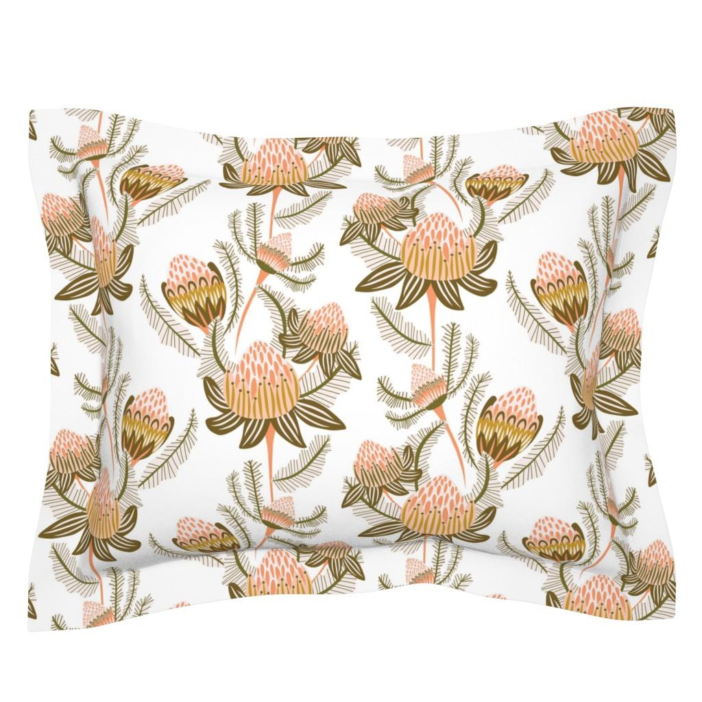 Sebright Pillow Sham featuring Modern Victorian Botanical Damask Ivory by kirstenkatz