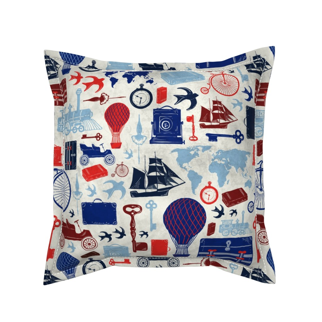 Serama Throw Pillow featuring All Aboard to Explore Our Marvelous World by zirkus_design