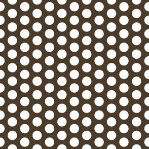 FS Medium White Polka Dot on Cocoa Brown