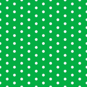 FS Small White Polka Dot on Grass Green