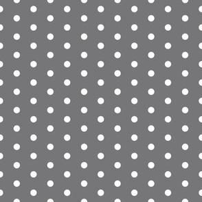 FS Small White Polka Dot on Steel Gray