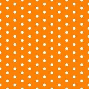 FS Small White Polka Dot on Carrot Orange