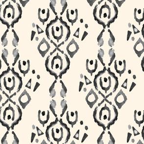 Jumbo Stripe Watercolor Ikat Cream Off White Grey Black white || Tribal Neutral Home Decor Gray _ Miss Chiff Designs