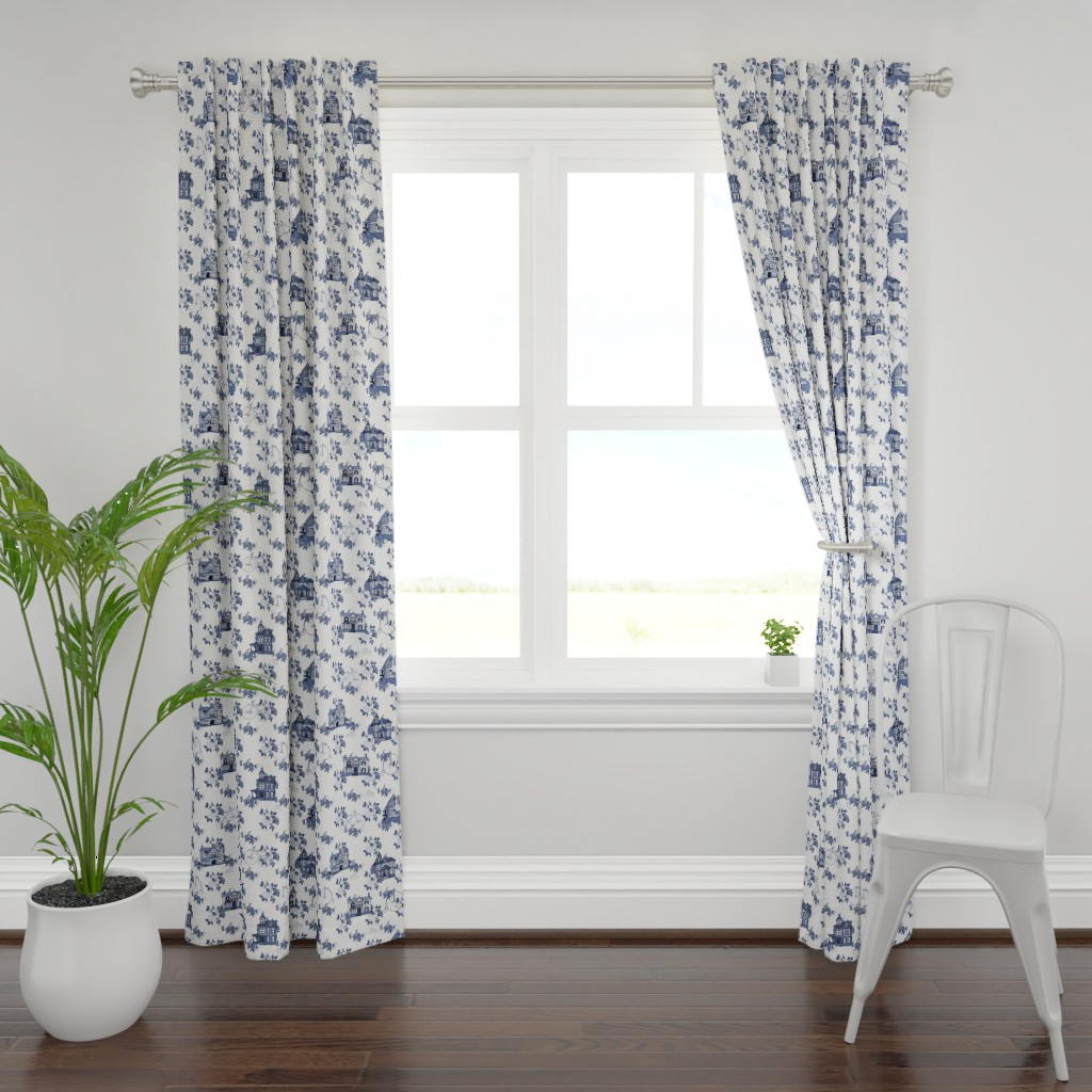 Plymouth Curtain Panel featuring Victorian House Blue Floral by lemon_chiffon