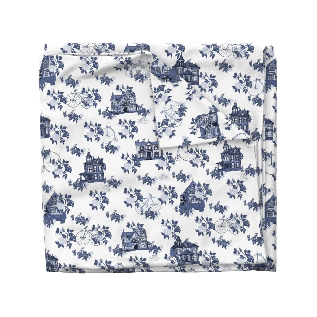 Wyandotte Duvet Cover featuring Victorian House Blue Floral by lemon_chiffon