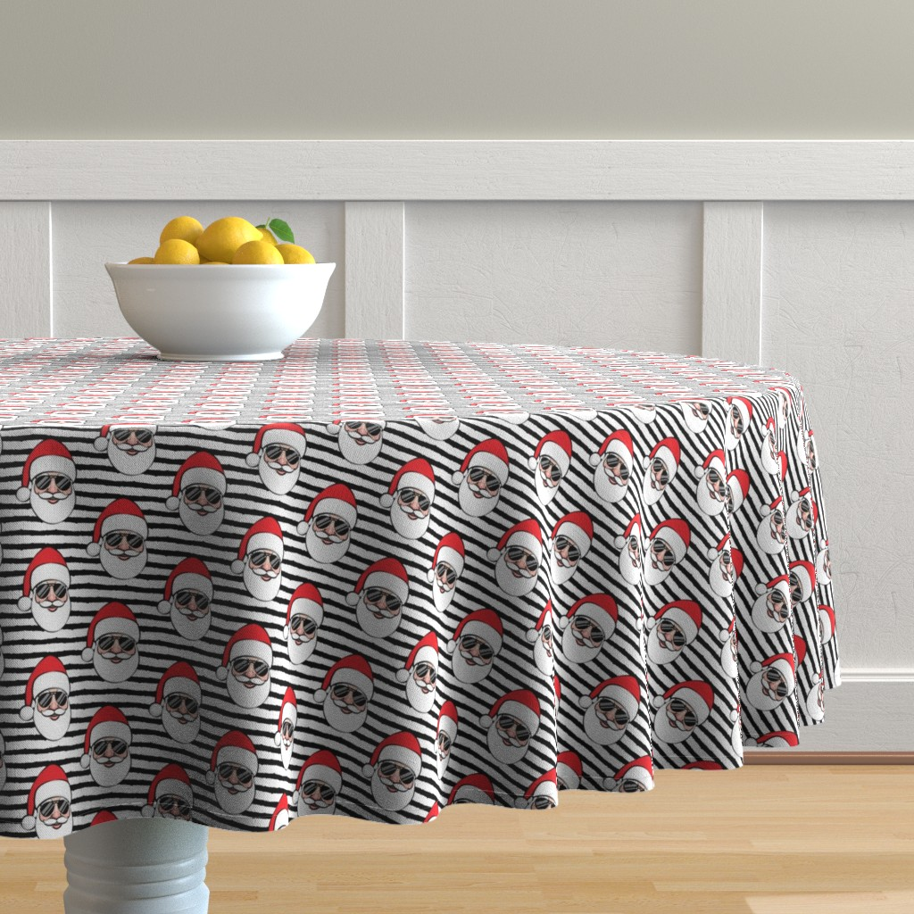 Malay Round Tablecloth featuring Santa Claus w/ sunnies - black stripes - Christmas by littlearrowdesign