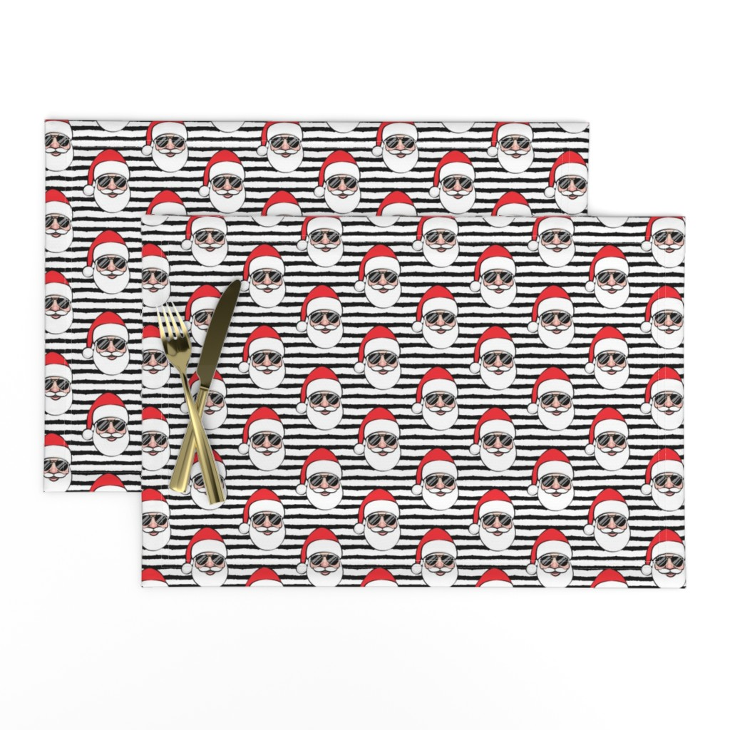 Lamona Cloth Placemats featuring Santa Claus w/ sunnies - black stripes - Christmas by littlearrowdesign