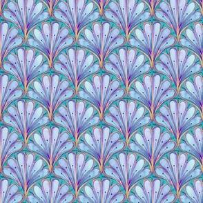 Art Deco Pattern in blue watercolor